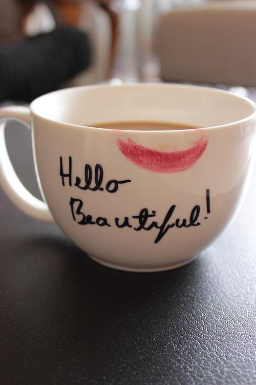 Beautiful Coffee Cup Happy Hello Kiss Lips Lip