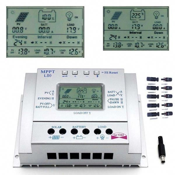 Intelligent 60a 80a Mppt Solar Panel Regulator Charge Controller Auto Switch 12v 24v 750w 1500w Lcd Usb 5 Pa Solar Panels Solar Energy Cheap Solar Panels
