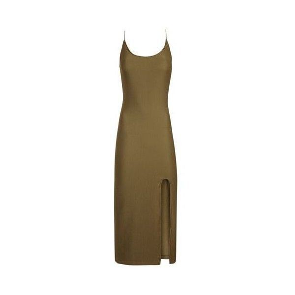 TopShop Split Detail Ribbed Midi Dress ($68) ❤ liked on Polyvore featuring dresses, khaki, ribbed midi dress, brown jersey dress, ribbed dress, rib dress and khaki dress