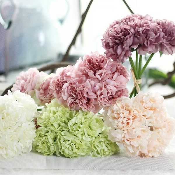 Artificial Fake Flowers Carnations Wedding Bouquet Bridal Floral Hydrangea Decor