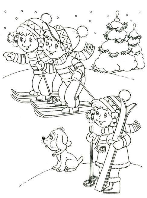 Skiën, kleurplaat voor kleuters