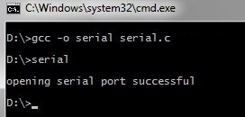 Compiling the serial port communication program program using MinGW on Windows 7. The Program uses Win32 API to program the serial port