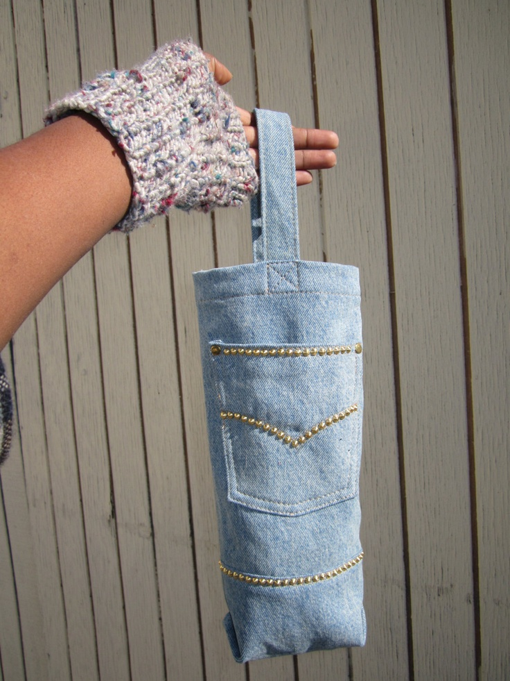 Wine bottle carrier in studded denim jeans. $35.00, via Etsy.