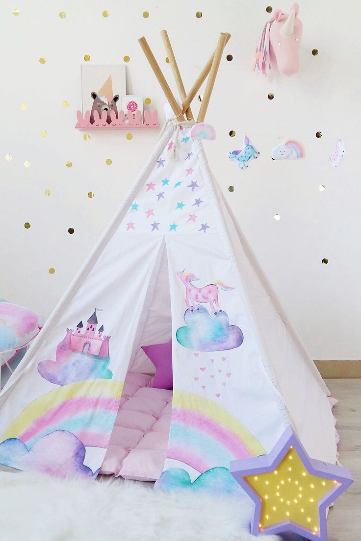 Kids tepee with castle and unicorn to buy on Etsy- HappySpacesWorkshop - pastel girls room ideas, unicorn decor, girly teepee