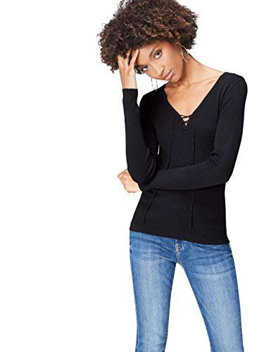 0dc5416b776a FIND Pull Col V à Lacets Femme Noir (Black) 42 (Taille Fabricant ...