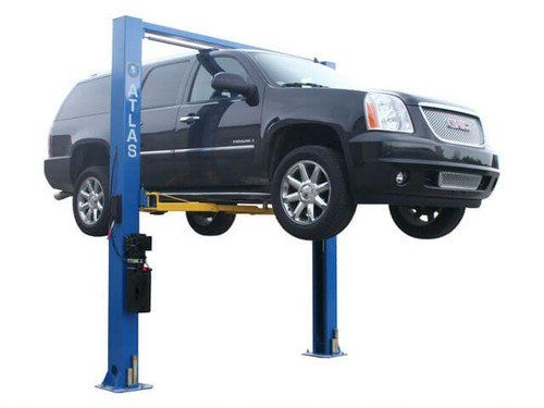 """Atlas 9OHSC (SS) Overhead 2 Post Lift  9,000 LB. Capacity, Powder Coat Finish, Clear Floor Design  Symmetric Columns,, Super Symmetric Arms, """"Padded"""" Shut-Off Bar,  Single Point Lock Release, Automatic Arm Restraints, Dual Hydraulic Chain-Drive Cylinders  Free 12 Piece Truck Adapter Set, Mounting Hardware Included  Free Freight Shipping To A BUSINESS ADDRESS In The Lower 48 States"""