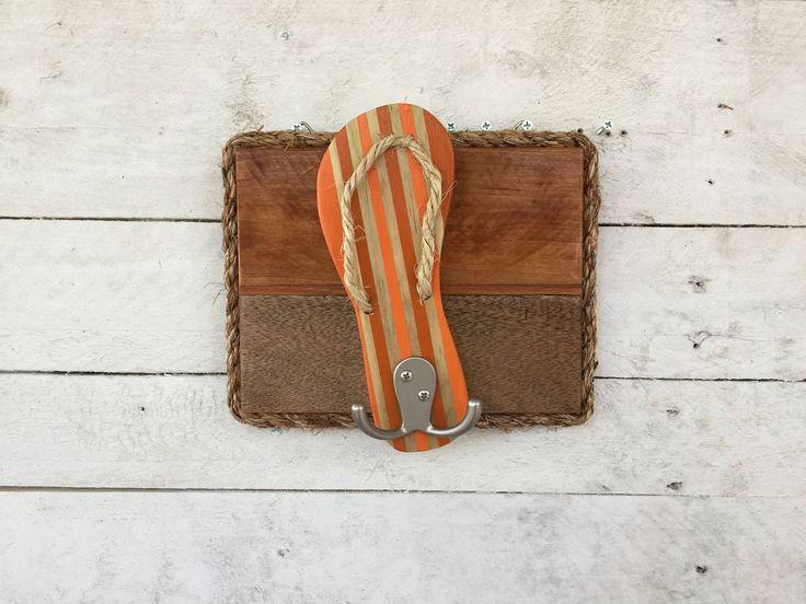 Flip Flop Decor, Pool Towel Rack, Bathroom Towel Hooks, Dog Leash Holder, Outdoor Shower Hooks, Key Ring Hooks, Reclaimed Wood Wall Art by FunkieJunkEmporium on Etsy