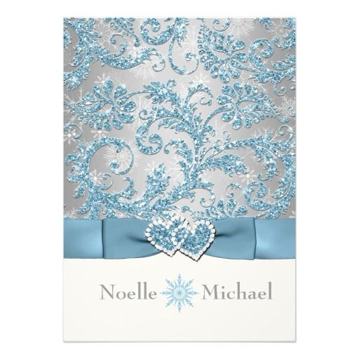 Winter Wonderland Joined Hearts Wedding Invitations that are shiny and bright and oh so beautiful for your blue winter wedding.