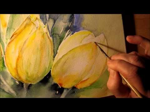 "▶ Aquarell ""gelbe Tulpen"" Tutorial Teil 2 - YouTube"