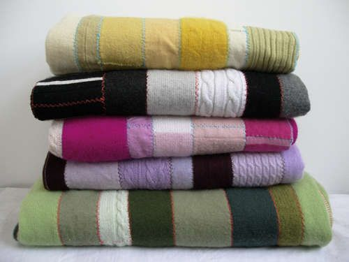 Cashmere Patchwork Quilt - DIY: Pieced together from felted repurposed sweaters, these look so cozy.
