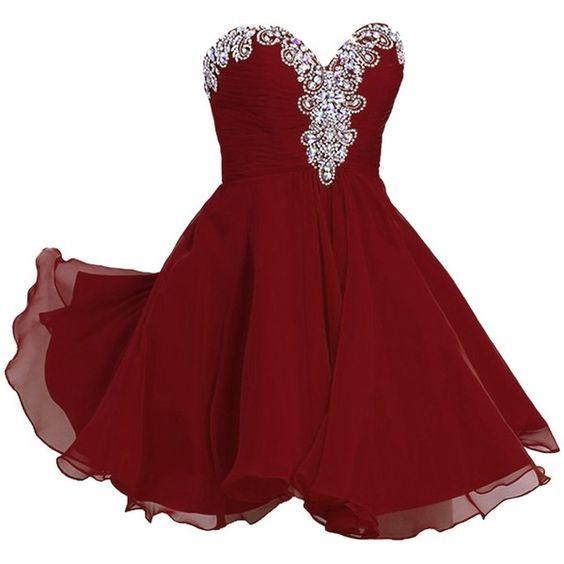Women's A-line, Sweetheart, Short, Chiffon, Rhinestone, Homecoming dress, red homecoming dresses, short chiffon dress, short homecoming dresses