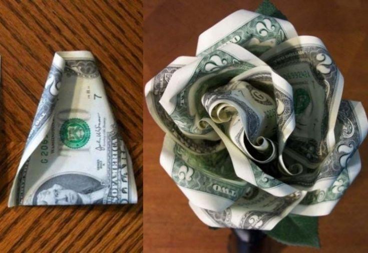 Geldscheine in der Hälfte falten und leicht rollen