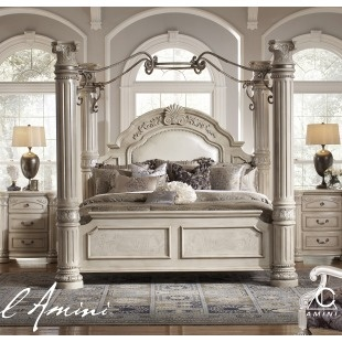 AICO Monte Carlo II King Size Poster Bed with Canopy in Silver Pearl