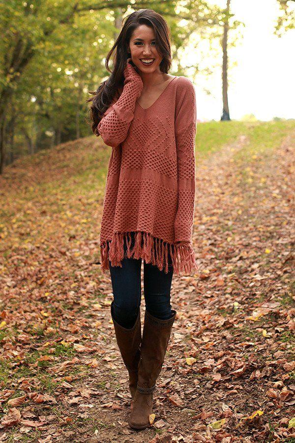 Cozy By The Fireside Fringe Sweater in Cinnamon