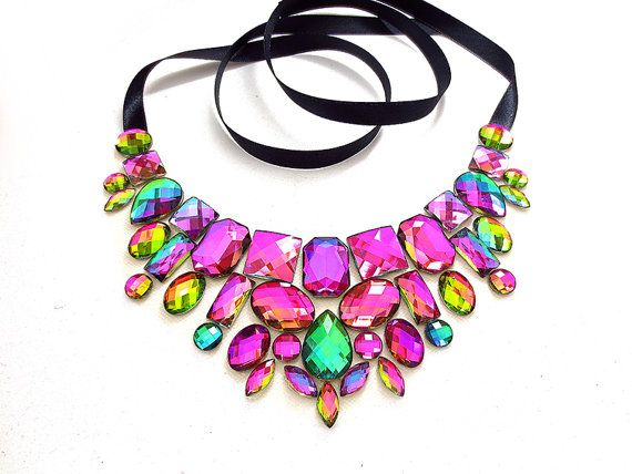 Rainbow Rhinestone Necklace Bib Necklace by SparkleBeastDesign