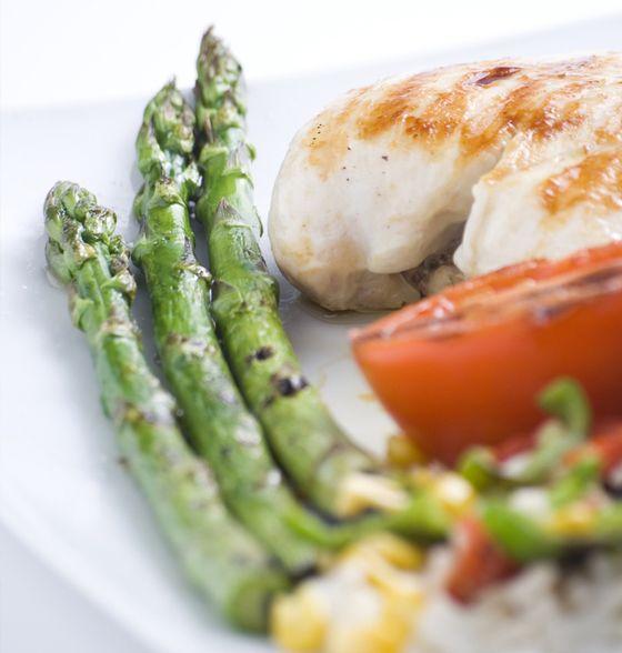 Maxines Burn : Roast Mini Roma Tomato, Broccolini & Asparagus Salad with Chicken