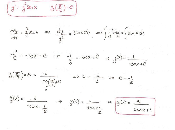 Solución del ejercicio 6 de Ecuaciones Diferenciales de Variables Separadas