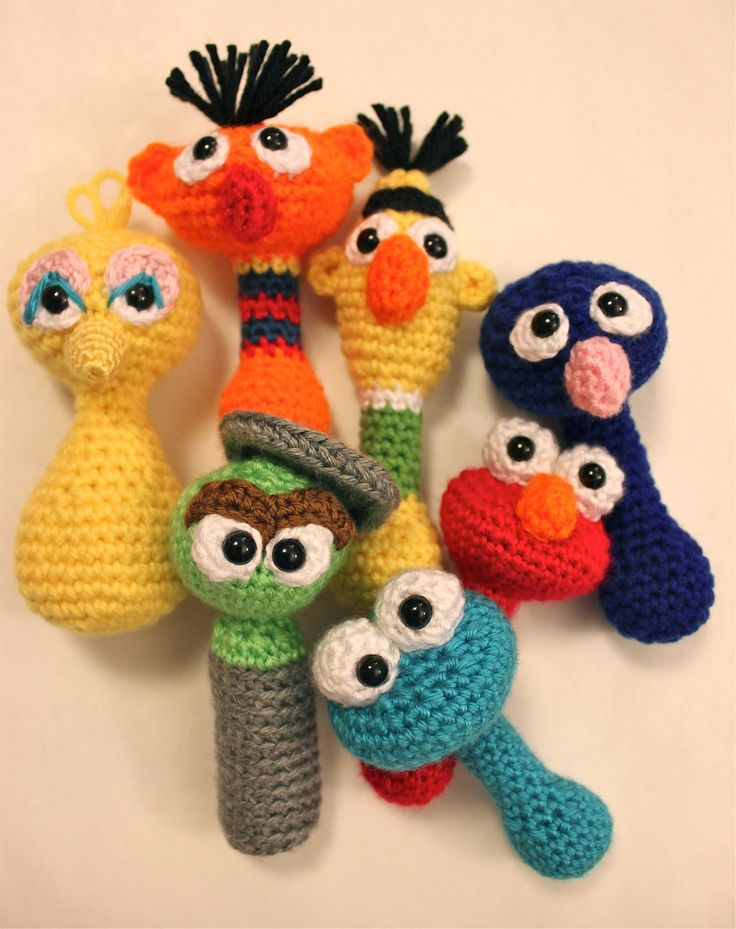 PATTERN Cookie Monster Sesame Street Baby Rattle Crochet by Sahrit