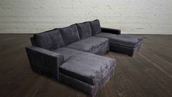 Furniture Over Sized Charcoal Velvet Modular Sofa Bed