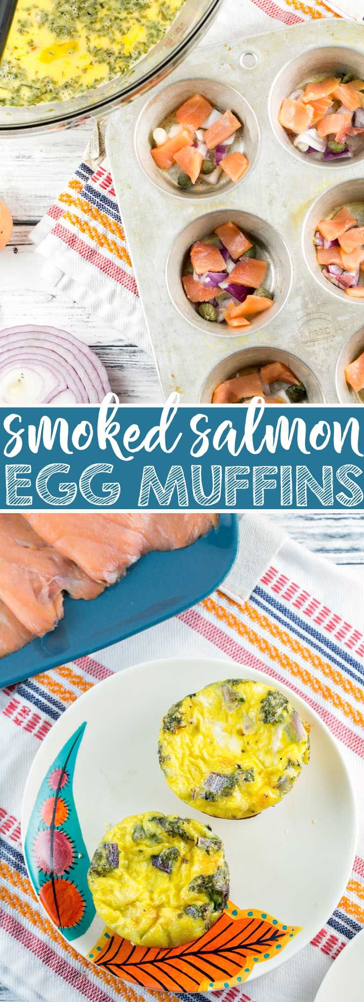 Smoked Salmon Egg Muffins: full of smoked salmon, capers, and red onion, these smoked salmon egg muffins are a delicious low carb, high protein breakfast option. {Bunsen Burner Bakery} #breakfast #brunch #eggs #smokedsalmon #glutenfree  via @bnsnbrnrbakery