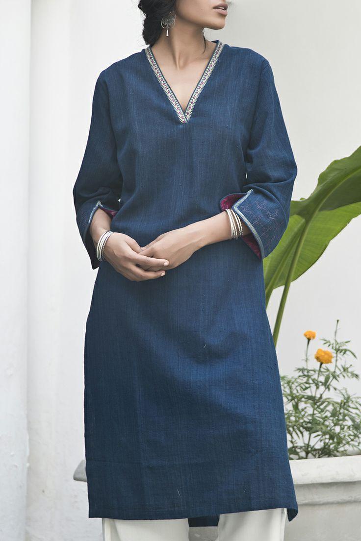 Goodearth - Rasia Indigo Kurta - Cotton Khadi. No pattern. Sleeve detail