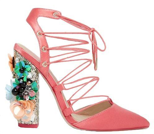 escarpins en satin rose fleurs multicolors asos collection cadeaux de noel chaussures. Black Bedroom Furniture Sets. Home Design Ideas