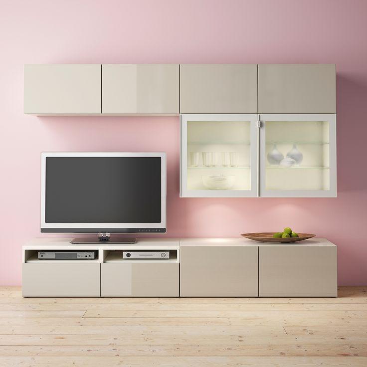 lowboard hngend hlsta cool composition rangement mural ikea besta bois gris blanc leds with. Black Bedroom Furniture Sets. Home Design Ideas