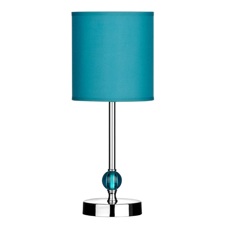 Table lamp chrome finish teal acrylic ball teal shade
