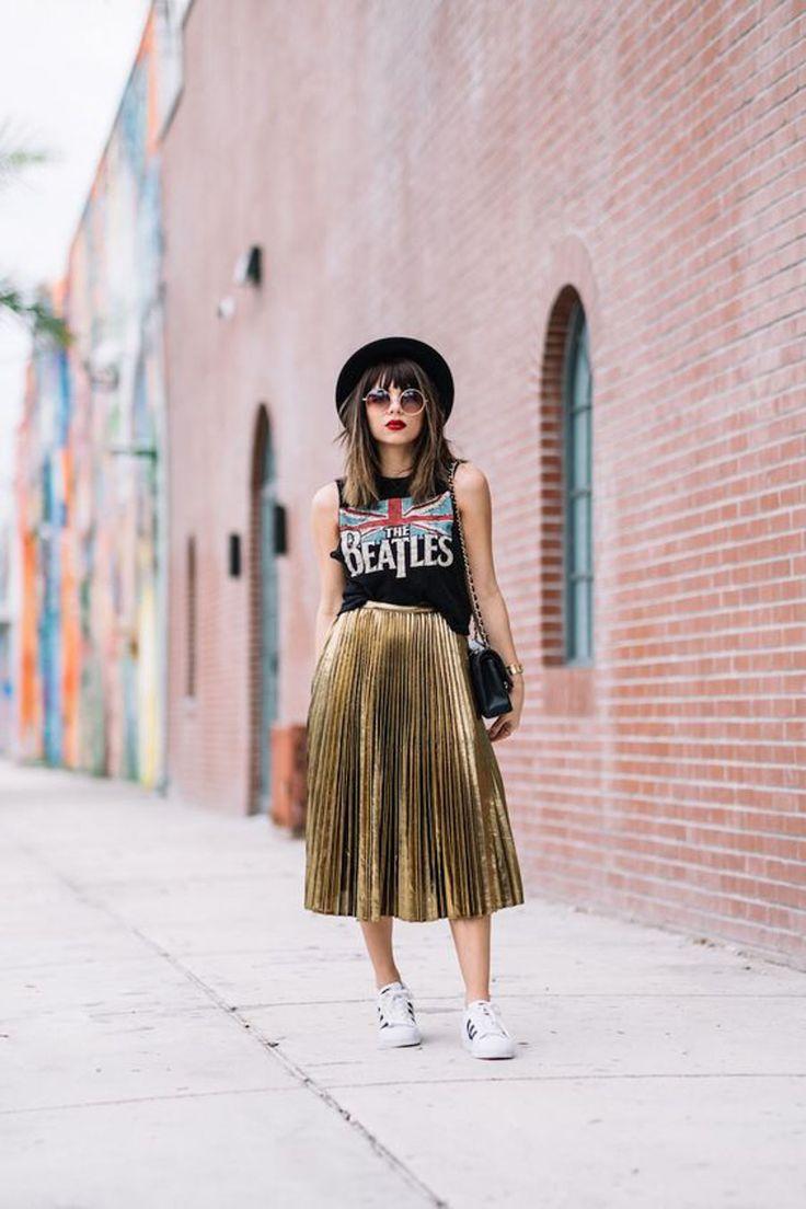 InspireBlog – Lifestyle Tendência de Moda   Saia Plissada Metalizada - InspireBlog - Lifestyle