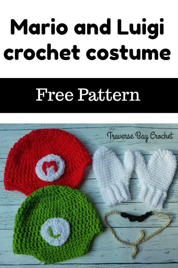 Mario And Luigi Hat Mustache Mitten Crochet Costume Crafts