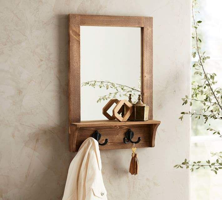 Wade Entryway Mirror With Hooks Pine Entryway Mirror With Hooks Mirror With Hooks Entryway Mirror