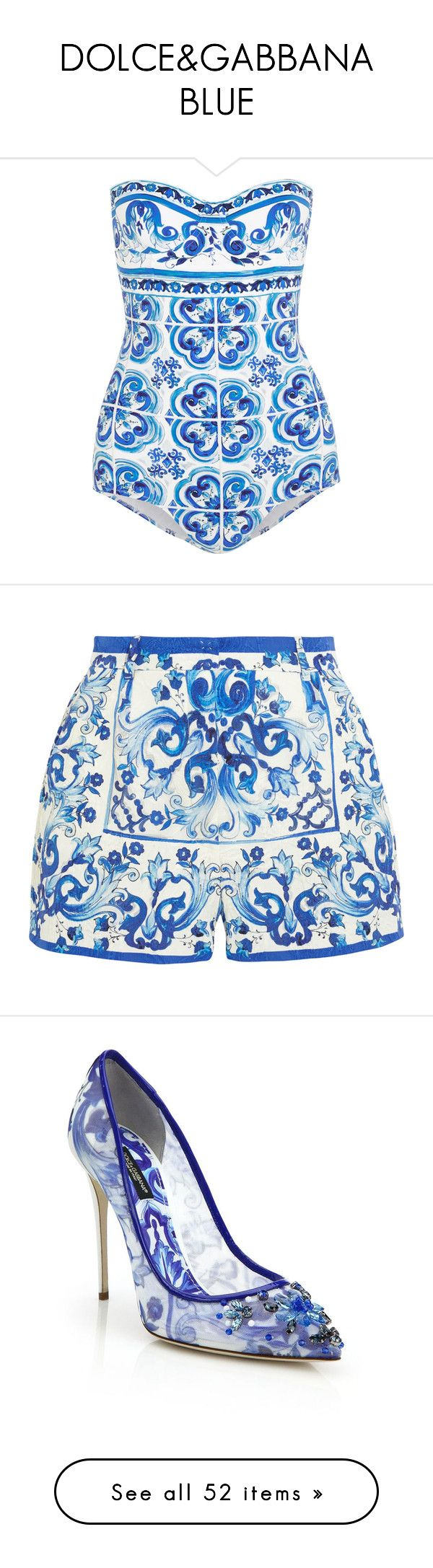 """DOLCE&GABBANA BLUE"" by adelaida0912 ❤ liked on Polyvore featuring swimwear, one-piece swimsuits, swimsuits, bikini, bathing suits, blue, swim bikini, underwire one piece swimsuit, swimming costume and swim suits"