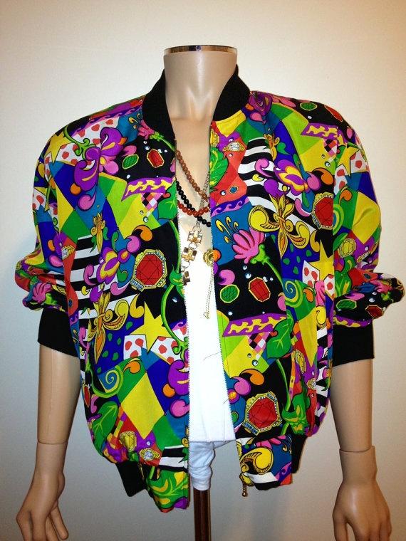 Vintage 1990s BAROQUE colorful ABSTRACT print silk bomber coat jacket nu wave hip hop size Large. 87.00, via Etsy.