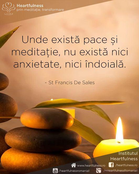 Unde există pace și meditație, nu există nici anxietate, nici îndoială. ~ St Francis De Sales #cunoaste_cu_inima #meditatia_heartfulness #hfnro Meditatia Heartfulness Romania