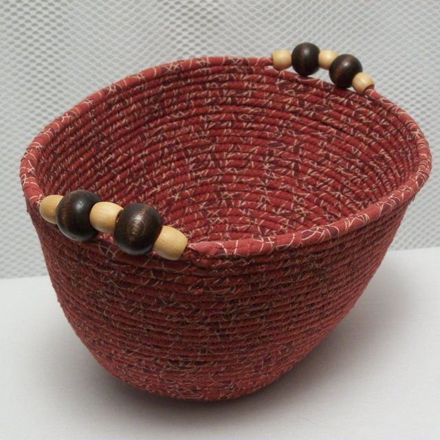 Fabric Oval Bowl - Coiled - Medium Oval - Rust/Brown/Cream. Wooden Handles