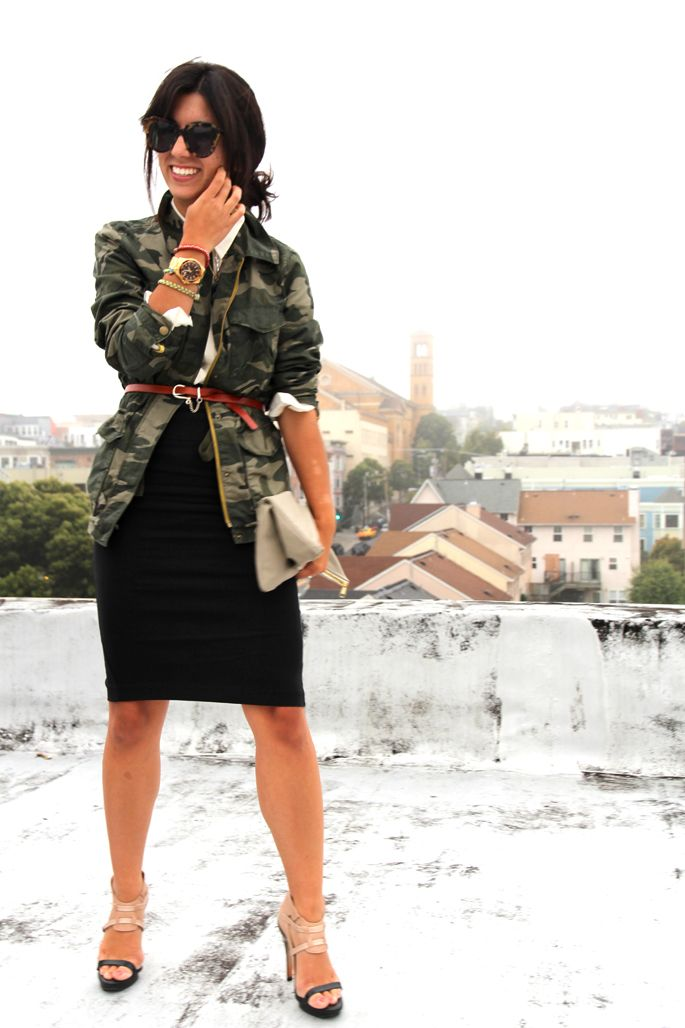 camo and a sleek black pencil skirt - a look i never would have thought of! #thistimetomorrow