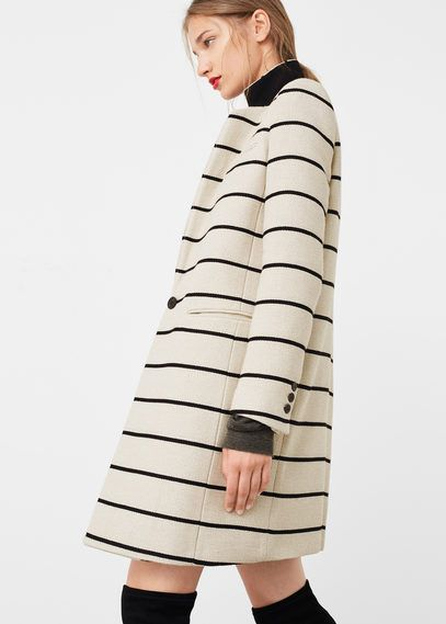 Striped cotton coat