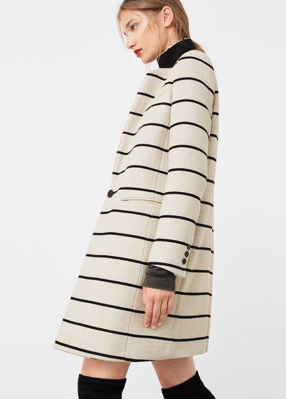 Striped cotton coat