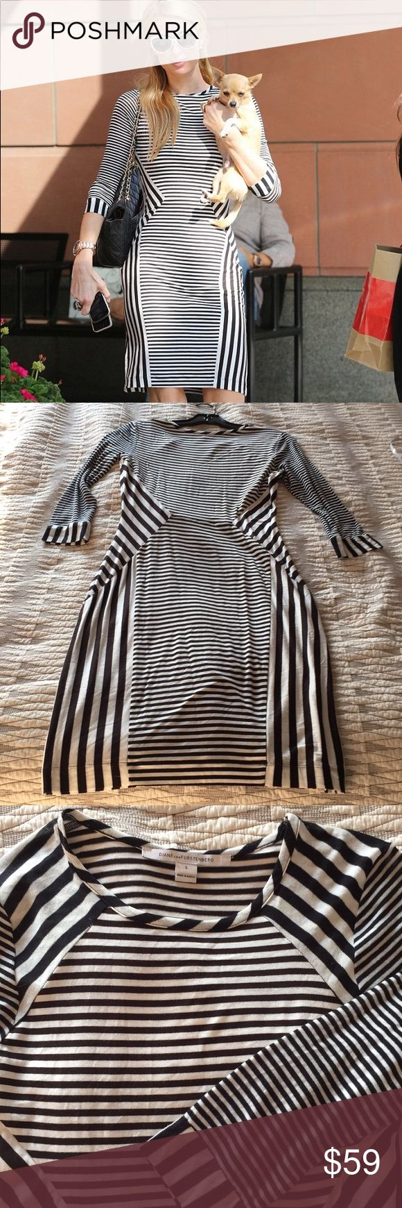 "NWOT DVF Haven Knit Dress As seen on Paris Hilton. DVF black & white geometric striped knit dress. Purchased at Gilt warehouse sale and never worn. Cotton blend. Small defect on right sleeve discovered when taking photos, easily repaired. Smoke free home. Measures 38"" from shoulder to hem. The Haven dress is soft and sexy. With black and white stripes artfully arranged to flatter and contour the body. Great stretch. Unlined. Falls to above the knee. Fit is true to size. Check out DVF website…"