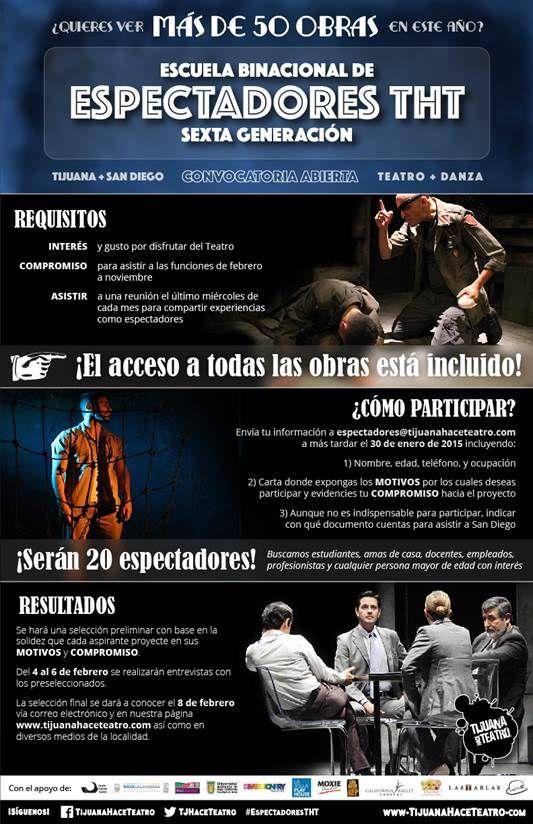 CONVOCATORIA Escuela Binacional de Espectadores 2015 #EspectadoresTHT #EncisoConsulting #Teatro #Tijuana