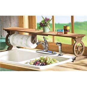 Western Wagon Wheel Over the Sink Shelf with Paper Towel Holder
