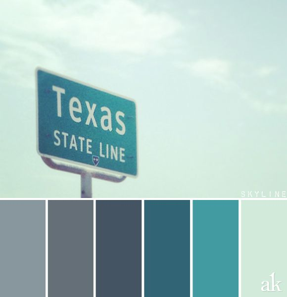 a state-sign-inspired color palette // blue-gray, chalkboard gray, teal, mint //