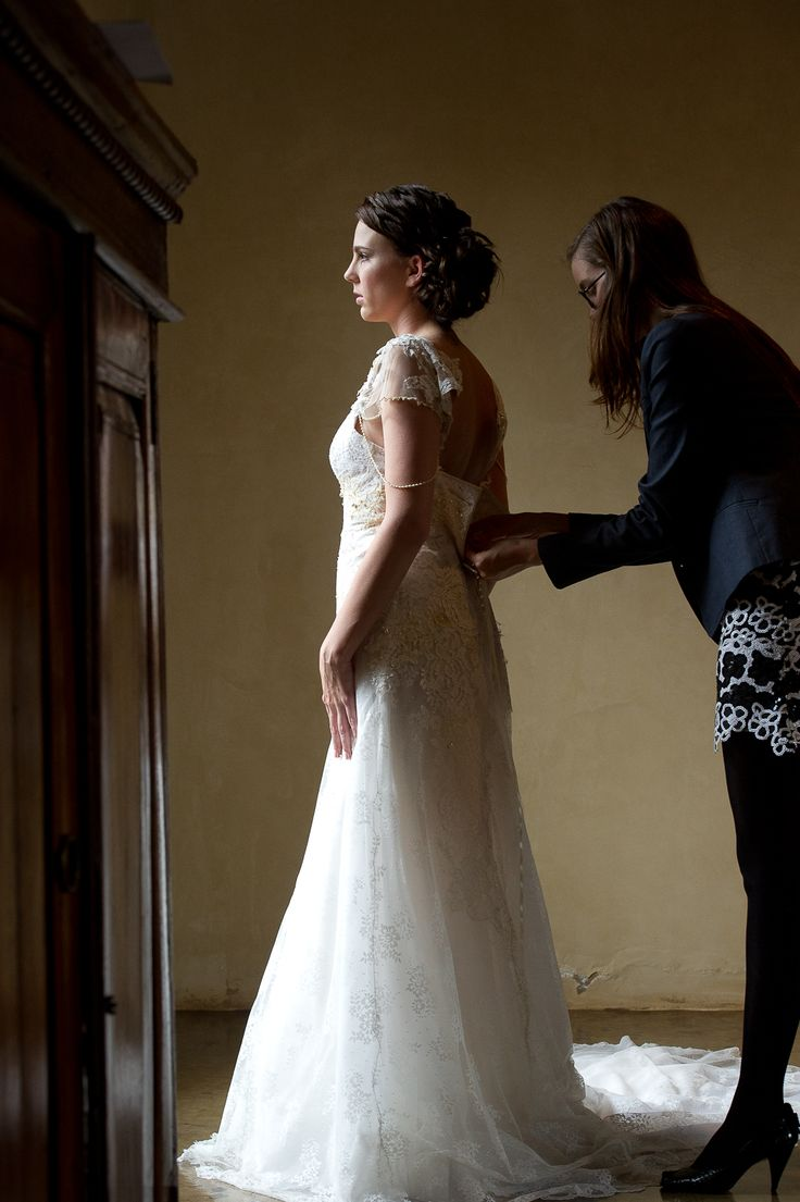 Vintage lace & crochet #EcoBride gown for Carol-Anne Frey. #EcoChicWeddings