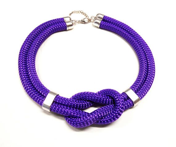 Collar Tribal de cuerda púrpura declaración collar collar