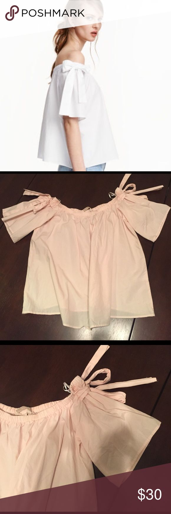 H&M Off The Shoulder Cotton Blouse Super cute cotton blouse with shoulder ribbon ties. H&M Tops Blouses