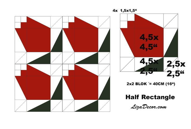 Patchwork Half Rectangle a Half Square - Půlené čtverce a obdélníky #half #rectangle #square #tutorial #video #lizadecor #šablony #vzory