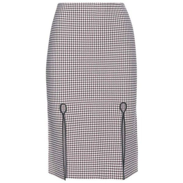 Alexander Wang Stretch Pencil Skirt ($535) ❤ liked on Polyvore featuring skirts, brown, brown pencil skirt, knee length pencil skirt, purple skirt, stretch skirts and stretchy pencil skirt
