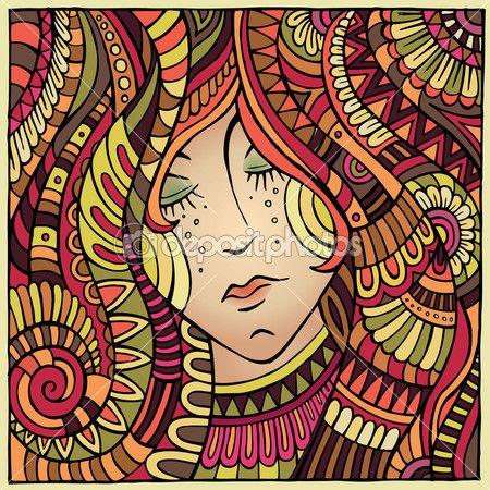 Вектор декоративные осенью девушка портрет Иллюстрация — Векторная картинка #31792085
