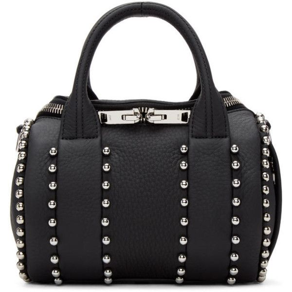 Alexander Wang Black Mini Rockie Ball Stud Bag (£600) ❤ liked on Polyvore featuring bags, handbags, purses, black, mini duffle bag, alexander wang purse, woven purses, duffel bag and mini purse