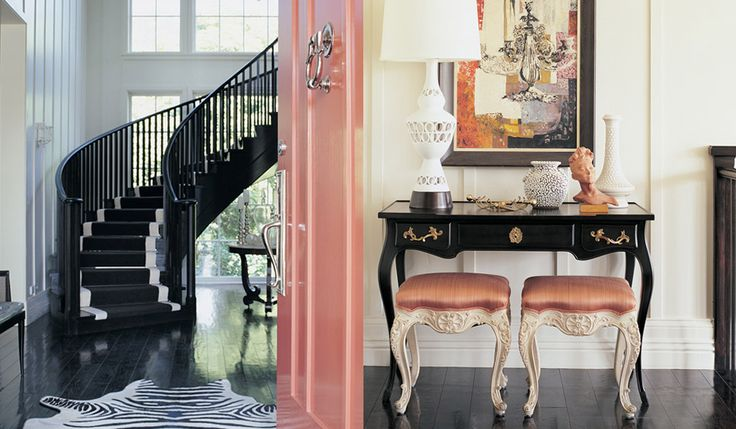 Kelly Wearstler: Colors Combos, Spirals Stairca, Interiors Design, Fashion Accessories, Fall Fashion, Kelly Wearstler, Pink Doors, Doors Colors, Pink Black